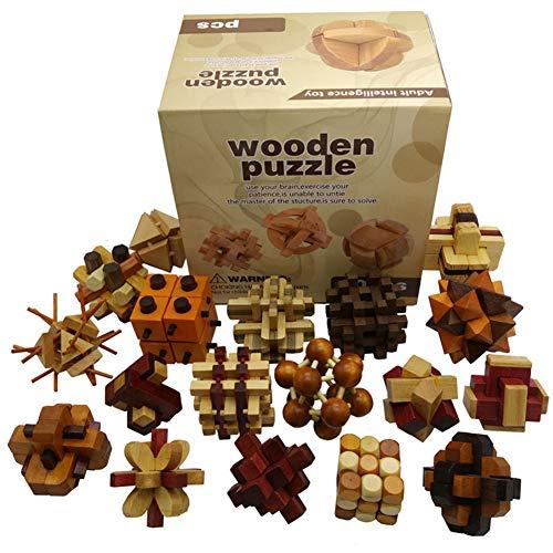 18 Piezas 3D Rompecabezas de Madera del Enigma Juego Puzle #1   Clásica de Cerradura de Brain Teaser Puzzle IQ Juguetes para Niños y Adultos   Idea Perfecta del Regalo y de Decoración