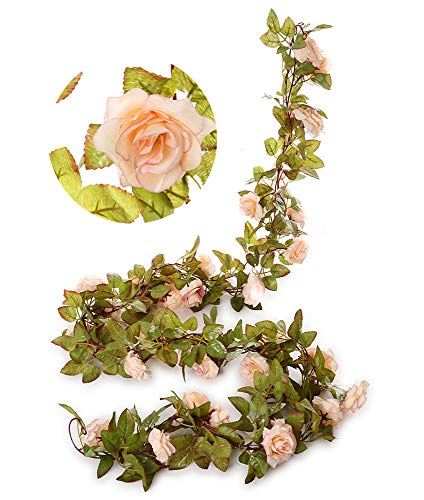 Greentime 2 Pack 17 Heads 7.2 Ft/pc Artificial Silk Fake Flowers Autumn Rose Vine Hanging Plants Wedding Home Party Arch Thanksgiving Decor