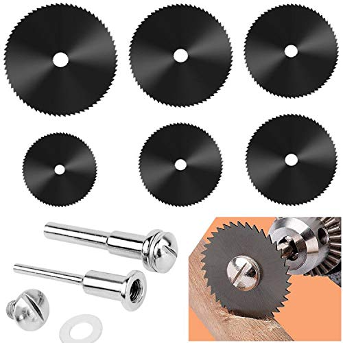 6 Pcs Rotary Drill Saw Blades, Steel Saw Disc Wheel Cutting Blades with 1/8' Straight Shank Mandrel for Dremel Fordom Drills Rotary Tools (22mm 25mm 32mm 35mm 44mm 50mm) (Color A)