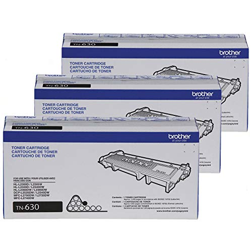 Brother Genuine Standard Yield Toner Cartridge, TN630, Replacement Black Toner, Page Yield Up to 1,200 Pages, Amazon Dash Replenishment Cartridge 3-Count