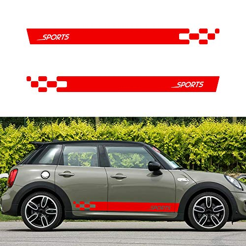 Optional Colour Vinyl Sports Racing Decal Side Stripes Stickers Badge for Mini Cooper S Countryman Seven Clubman John Pacema Car Body Decorations Accessories Red 2PCS
