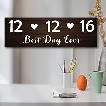 by Unbranded Beste dag ooit houten teken, gepersonaliseerd trouwbord, gepersonaliseerd houten bord, huwelijksdatum, huweli...