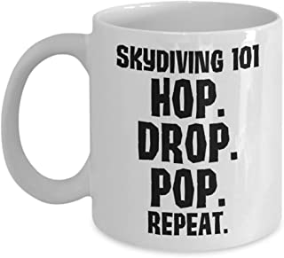 PixiDoodle Skydiving 101 Skydiver and Free Falling Coffee Mug (11 oz, White)