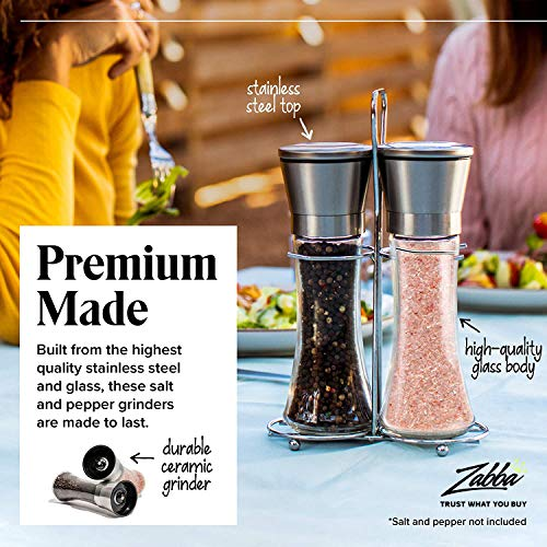 Salt and Pepper Shakers with Matching Stand - Salt and Pepper Grinders - Spice Grinder with Adjustable Coarseness - Brushed Stainless Steel Salt and Pepper Mill Pair - Tall and Easy To Refill