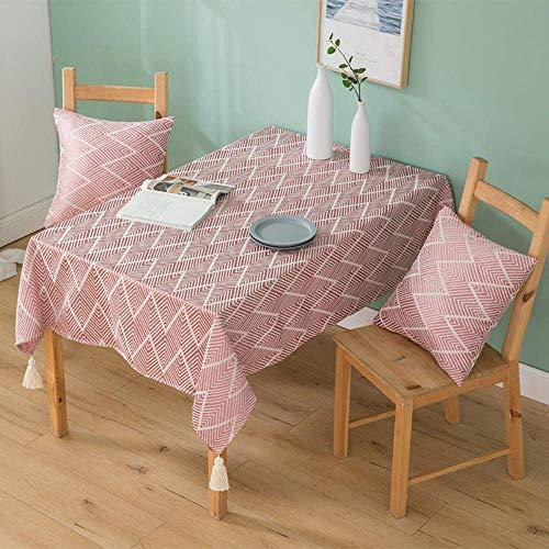 Zjcpow Simple triángulo geométrico Perspectiva manteles de algodón Mantel Mantel Rectangular Gruesa Japonesa Wrap Rosa de Onda de 135 x 180 cm xuwuhz