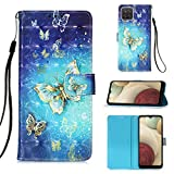 Voanice for Galaxy A12 Case,Premium PU Leather Wallet Case with Card Holder Slots Kickstand Girls Women Magnetic Full Body Protective Flip Cover Wrist Strap for Samsung Galaxy A12 and Stylus-Butterfly