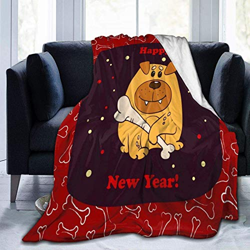 3D printing blanket New Year Yellow Dog Throw Blanket Lightweight Flannel Fleece Blanket for Couch Bed Sofa Travelling Camping for Kids Adults 150 x 200 cm