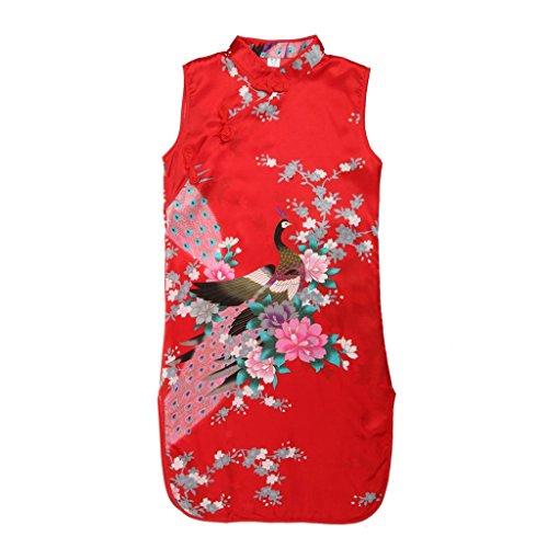 Vestido Del Qipao Clásico Cheongsam Chino Del Pavo Real Floral para Niñas Muchachas Chicas - Rojo(Estilo A), 6