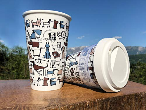Coffee to Go Becher - Coffee2Go - Porzellan - Travel Mug - Motiv: Hunde