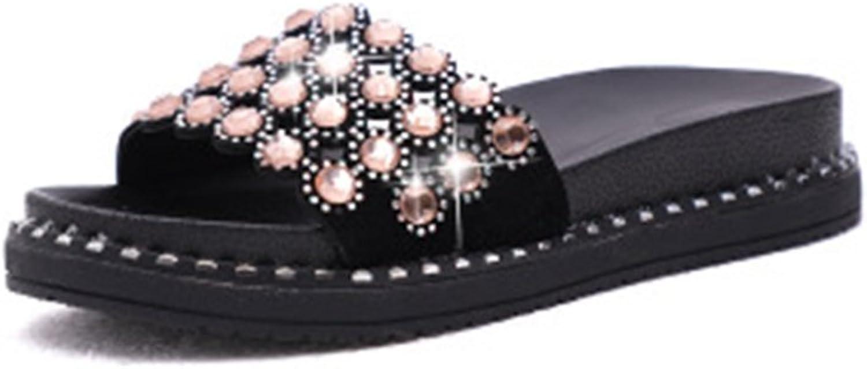 GIY Pool Rhinestone Slides Sandals for Women, Platform Comfort Soft Anti-Slip Flat Summer Beach Slipper