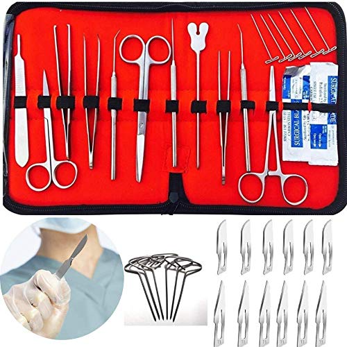 29 pcs Dissection Dissecting Tools Kit Set(6 T-Pins included)for Biology Anatomy Medical Students, Professionals, Anatomy,Botany, Zoology, High Stainless Steel Quality with Scalpel Knife Handle Blades