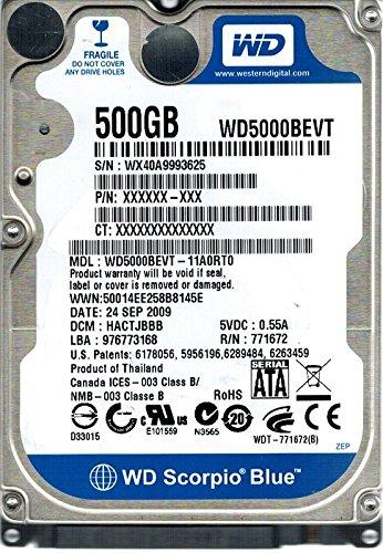 Western Digital WD5000BEVT-11A0Rt0 500Gb Dcm: Hactjbbb