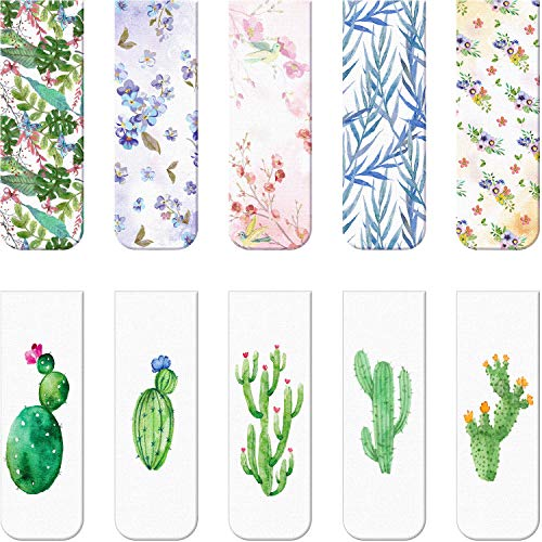 10 Pieces Magnetic Bookmarks Magnet Page Markers Assorted Book Markers Set for Students Reading (Cactus Syle, 2.3 x 0.8 Inch)