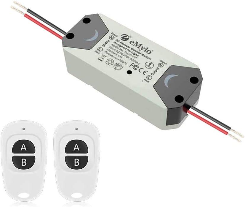 eMylo Smart Wireless RF Control remoto Interruptor 220V Relé 1000W Un 1 canal RF Relé Interruptor 90-250V Domótica 433 MHz con dos transmisores 1 paquete