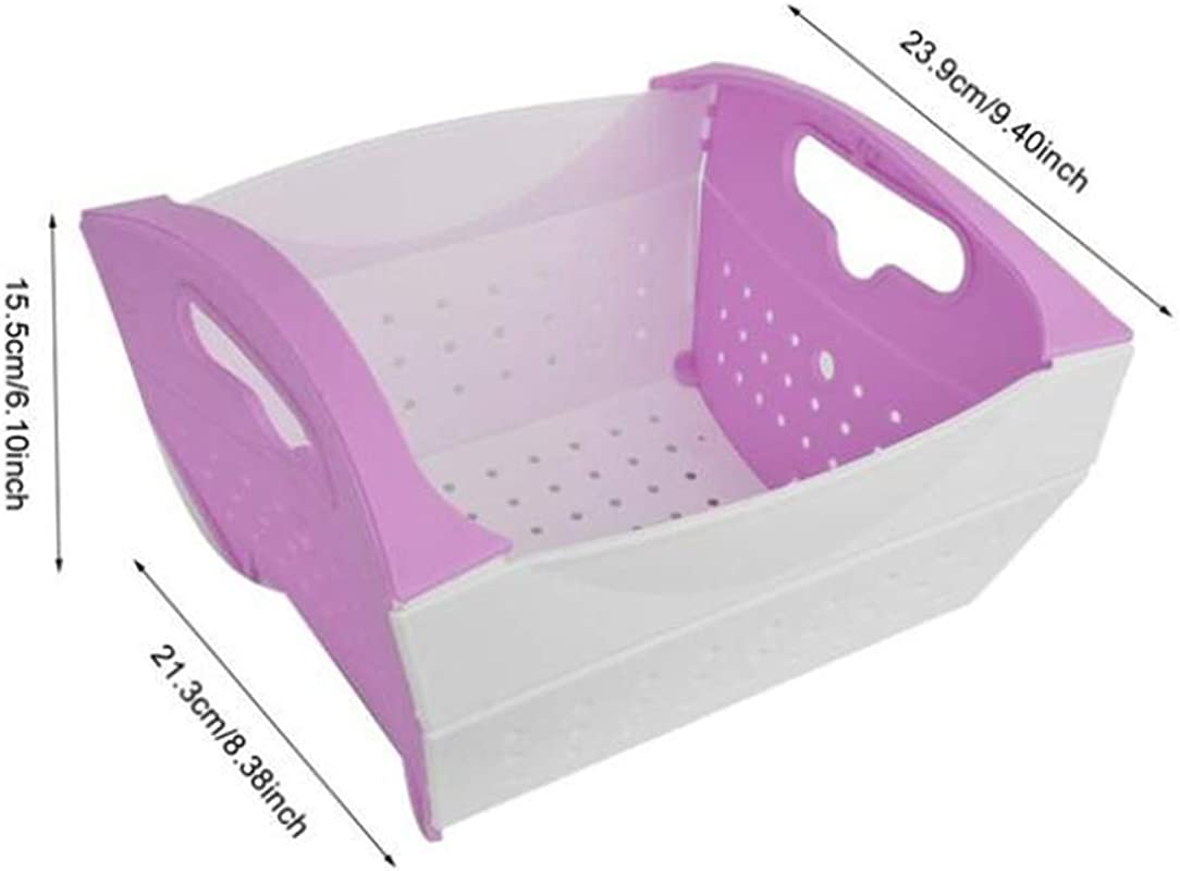 YouCY Wash Strainer Kitchen Food Fruits Vegetable Cleaning Container Basket Colander Side Drainers Basin Wash Kitchen Colander For Cleaning Washing Mixing Fruits And Vegetables Purple