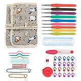 Teamoy Crochet Hooks Gift Set, organizador de envoltura de lona con agujas de ganchillo de agarre suave y accesorios de punto, Cartoon Cats