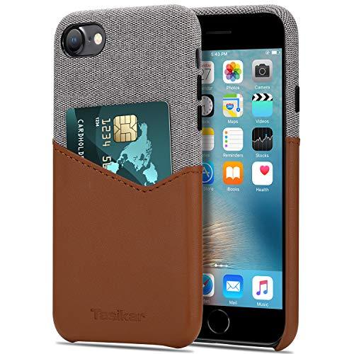 Tasikar Funda iPhone SE 2020 / Funda iPhone 7 / Funda iPhone 8 Carcasa Cartera de Cuero y Tela con Tarjetero Estuche Compatible con iPhone SE 2020/7 / 8 (Marrón)