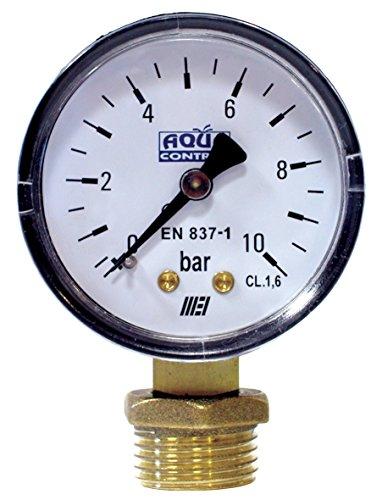 Aqua Control C6199 - Manómetro de 0 a 10 Bar. Roscas 1/4' y 1/2'