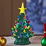 The Lakeside Collection Retro Lighted Ceramic Tabletop Christmas Tree - Holiday...
