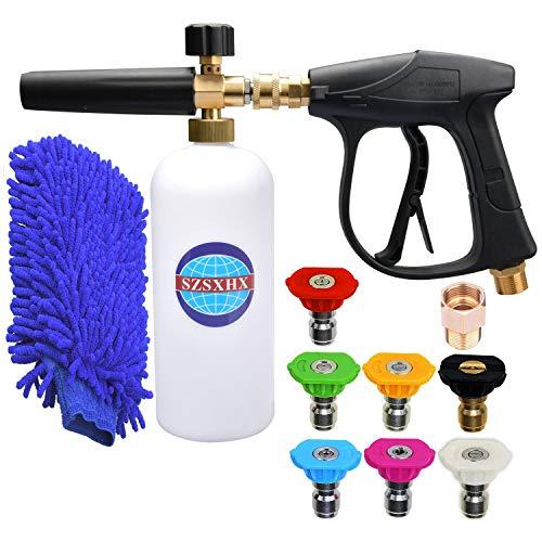 SZSXHX S400 Foam Cannon Gun 3000 PSI High Pressure Washer Foam Wash Gun Car Washer Gun with 7 Nozzles 1 M22 Adapter 1 Coral Glove