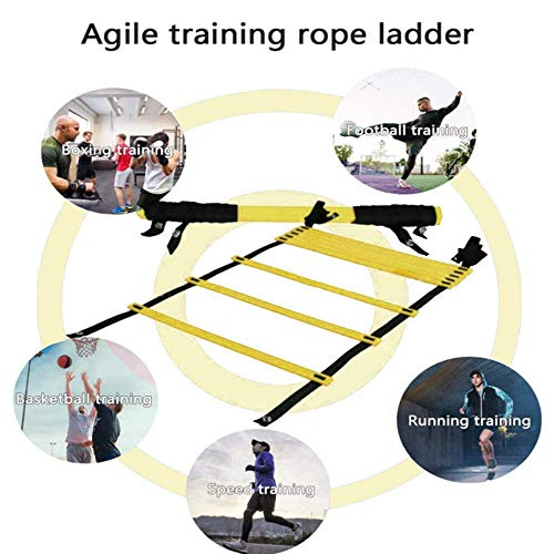 Auskang Agility Ladder - Speed Training Exercise Ladders with Carry Bag,22ft 12 Rung for Soccer Football Boxing Footwork Basketball (Yellow)