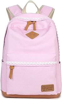 MINGZE Rucksäcke für Mädchen, Fashion Damen Canvas Rucksack Polka Punkt süße Spitze Kinderrucksack Outdoor Schulranzen Segeltuch Alltagtasche mit Punkten für Freizeit Schule Reise Pink