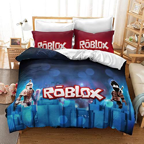 Meiju Duvet Cover Set for Boy Girl Single Double King Bed, 3D Printed Bedding Set Adults Teenager Children Kids Bedroom Microfiber Duvet Set with Pillowcases (Roblox 4,140x200cm)
