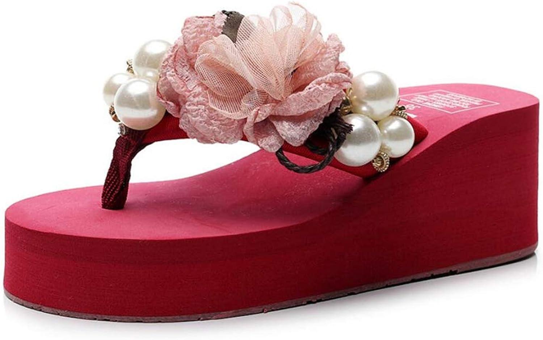 Women's Summer Pearl Wedge Flip Flops Non-Slip Wearable Beach Sandals