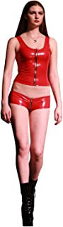 no-branded Women`s Latex Rubber Sexy Clubwear Sleeveless Shapewear Front Zip Vest LCMUS (Color : Red, Size : M)