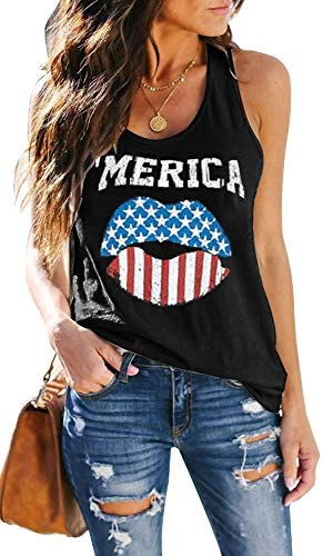 ETCYY Women s Red Lips American Flag Print Tank Tops Loose Fit Sunmmer Sleeveless T Shirts product image