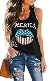 ETCYY Women's Red Lips American Flag Print Tank Tops Loose Fit Sunmmer Sleeveless T Shirts…