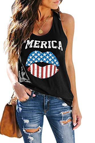 ETCYY Women's Red Lips American Flag Print Tank Tops Loose Fit Sunmmer Sleeveless T Shirts…