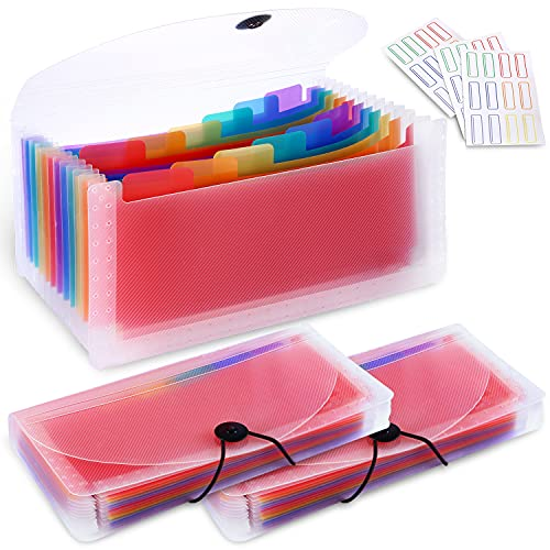 3 Pack 13 Pockets Expanding Accordion File Organizer, A6 Plastic Coupon Organizer Wallet for Storage Receipt/Invoice/Coupon/Cards/Tickets