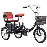 ZCXBHD Einzelgeschwindigkeit Dreirad Fahrräder mit Rücksitz 16-Zoll-Fracht-Dreiräder mit...