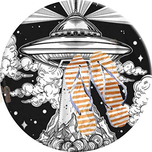 PEIGJH Alfombra De área Redonda Moderno Antideslizante Sala De Estar Dormitorio Baño Cocina Suave Alfombra Alfombra, 60cm, Alien Space Tattoo UFO 51