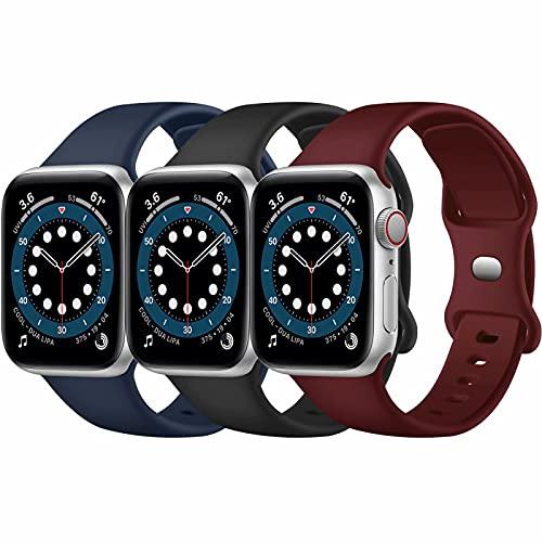 Paquete de 3 correas para Apple Watch compatibles con Apple Watch 38 mm, 42 mm, 40 mm, 44 mm, correa de silicona suave para relojes deportivos, compatible con iWatch SE Series 6 5 4 3 2 1(H, 38/40)