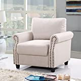 Divano Roma Furniture Classic Living Room Linen Armchair with Nailhead Trim and Storage Space (Beige)