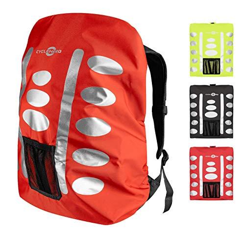 Regenschutz Rucksack (orange, 40-55L) Rucksack Überzug mit reflektierenden Elementen und Extra-Tasche - Wasserdichtes Regen Cover für viele Rucksack Größen (40L, 50L, 60L) Unisex Rucksackschutz
