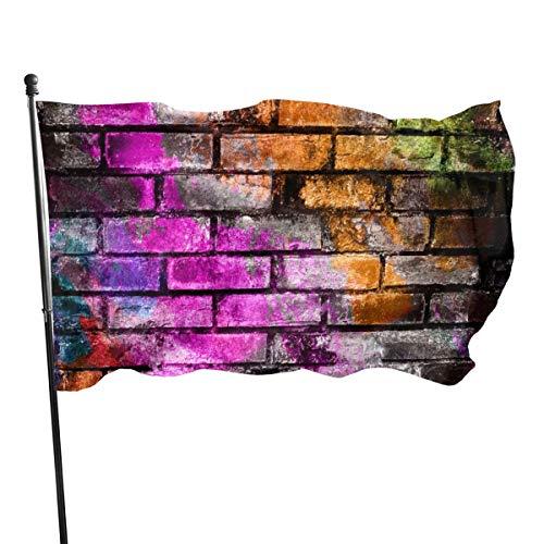 Risating Gartenflagge mit Ziegelmauer-Motiv, 90 x 150 cm, langlebig, Dekoration für den Außenbereich, saisonale Herbstfeier, Polyester, für Zuhause, Garten, Garten