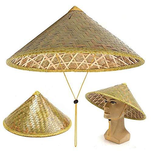 Jingliwang Sombrero para el Sol Coolie Oriental Chino Sombrero de bambú Tejido para la Lluvia Sombrero de arroz para Pesca de Granjero