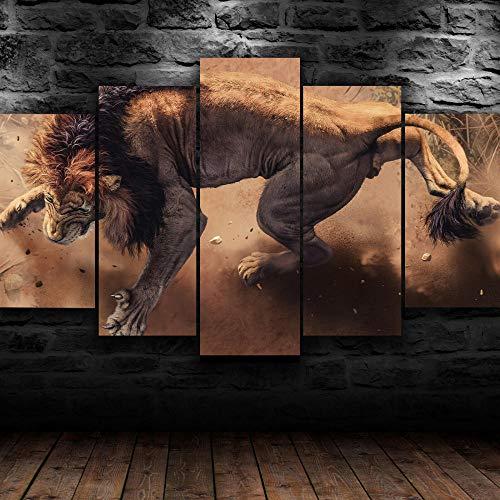 AWER Tejido no Tejido Impresión Rey León Africano Enojado Lienzos Cuadros Impresos,Impresión de Imagen Artística,5 Piezas 150x80cm,Cuadro sobre Lienzo,Pintura para Arte,Enmarcado