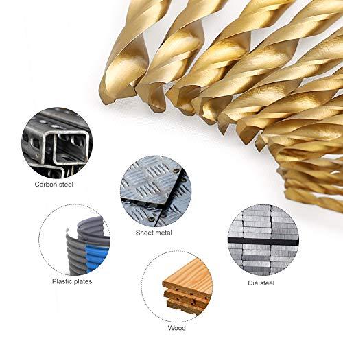 COMOWARE Titanium Twist Drill Bit Set - 13 Pcs Hex Shank High Speed Steel for Wood Plastic Aluminum Alloy, Quick Change, 1/16