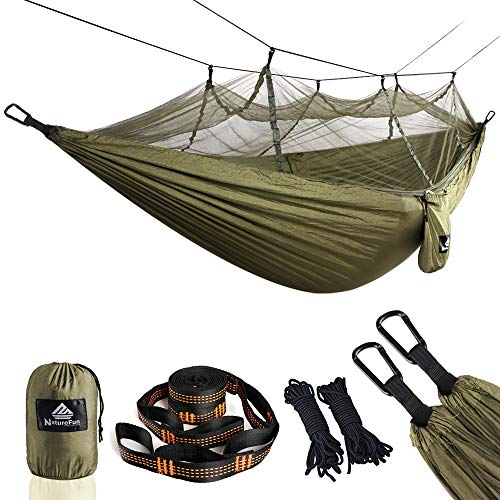 NATUREFUN Travel Bug Net Camping Hammock | 300kg Load Capacity,(275 x 140 cm) Breathable,Quick-drying Parachute Nylon | 2 x Premium Carabiners,4 x Nylon Slings Included | For Outdoor Indoor Garden