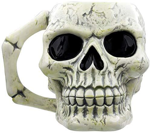 Puckator MUG217 Tasse, Totenkopf, Keramik, Elfenbein/Schwarz, 12,5 x 12,5 x 10,5 cm