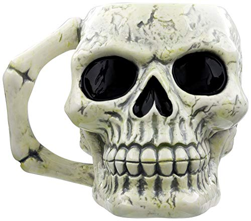 Puckator MUG217 Tasse Totenkopf, Keramik, Elfenbeinfarben/Schwarz, 12,5 x 12,5 x 10,5 cm