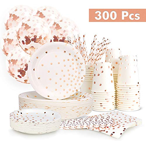 300PCS Rose Gold Paper Party Sup...