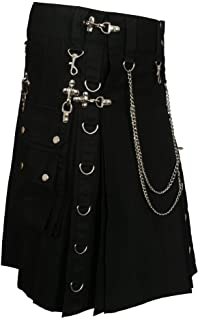 Black Fashion Gothic Kilt With Silver Chains