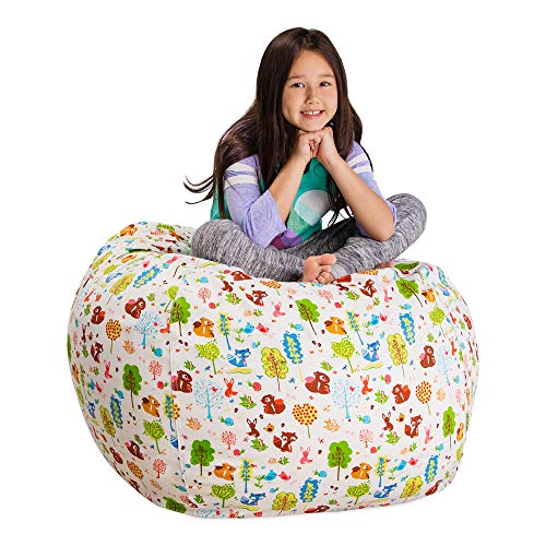 Posh Stuffable Kids Stuffed Animal Storage Bean Bag Chair Cover - Childrens Toy Organizer, Large 38' - Canvas Animals Forest Critters