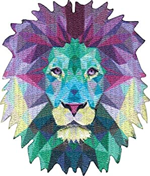 Geometric Lion - Cut Out Embroidered Iron On or Sew On Patch
