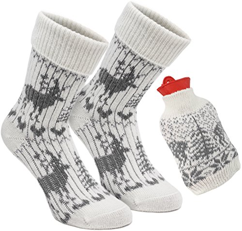 Brubaker Kuschel Geschenkset Warme Füße Damen Norweger Socken mit Wärmflasche Rot - Kuschelsocken Set für Frauen - Grau